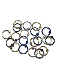 Captive Bead Ring 14g/16g Multi-use Anodized over surgical steel 20pc