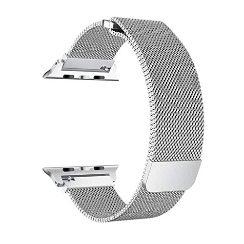 SICCIDEN Compatible with Apple Watch Band 38mm 40mm, Milanese Mesh Loop with Magnetic Clasp Stainless Steel Replacement Band Compatible with Apple Watch Series 4 Series 3 Series 2 Series 1, Silver
