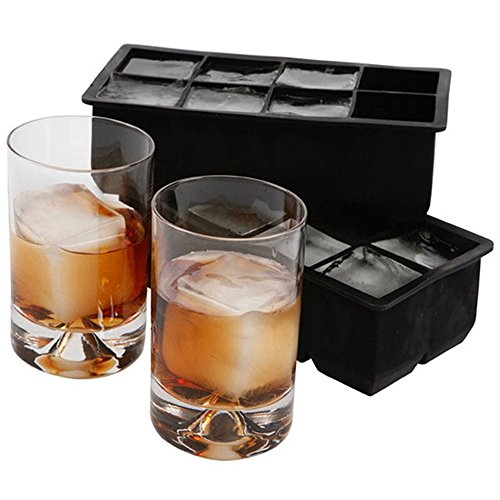 - CHICHIC 2 Pack 8 Cavity 2 Inch Large Silicone Ice Cube Trays, Giant Ice Cube Molds, Flexible Ice Cube Maker, Ice Tray Mold, FDA Certified BPA Free, for Chilling Bourbon Whiskey, Cocktail, and More