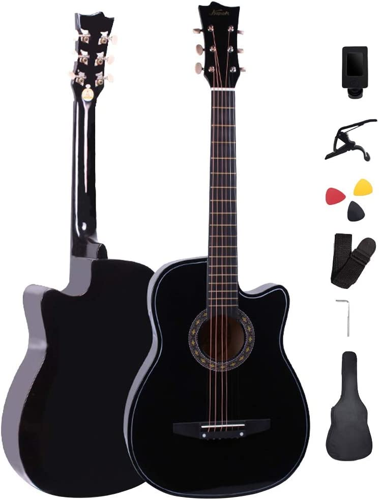 YJFENG Principiante Guitarra Acústica,Cuerda De Acero 2.8 Mm De Distancia De Acorde 21 Trastes Cutaway Guitarra Diseño Dreadnouht Fácil De Cargar Entretenimiento Al Aire Libre,4 Colores