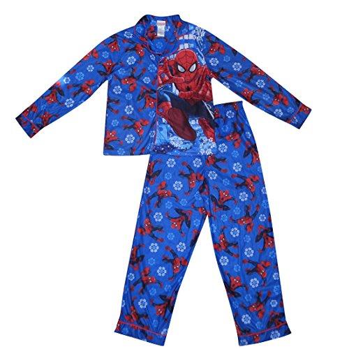 [2 PCS SET MARVEL COMICS SPIDERMAN Boys Fall / Winter Pajama Top & Pants Set S Blue] (Blue Spiderman Suit)
