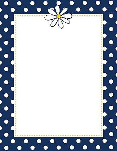 "Great Papers! Navy Dots & Daisy Letterhead, 80 Count, 8.5""x11"" (2014058)"