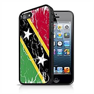 Santi Kitts & Nevis Weathered Flag Apple iPhone 5 5S Black Cell Phone Case