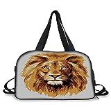 Travel handbag,Safari Decor,Illustration of the Lion King Biggest Cat in Africa Icon Animal in Tropics Artwork,Orange White ,Personalized