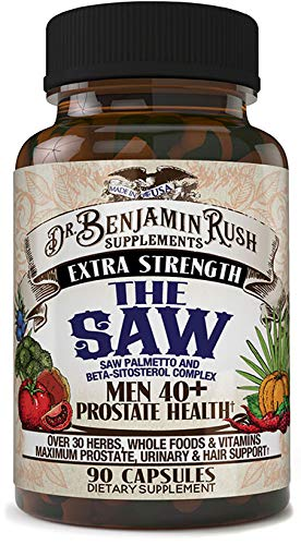 Dr Benjamin Rush Prostate Health Supplements for Men 40 Plus with the SAW, Saw Palmetto, Beta Sitosterol, Complete 30+ Herbs, Vitamins and Whole Foods Support Frequent Urination, DHT Blocker Hair - Enlarged Health Prostate