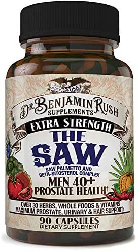 Dr Benjamin Rush Prostate Health Supplements for Men 40 Plus with the SAW, Saw Palmetto, Beta Sitosterol, Complete 30+ Herbs, Vitamins and Whole Foods Support Frequent Urination, DHT Blocker Hair Loss
