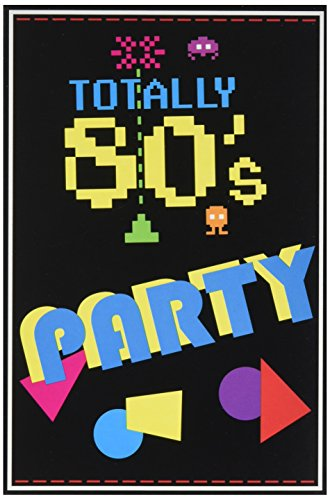 80's Themed Halloween Party Invitations (Beistle 58262 80's Invitations 8 Piece 8 Bit Decorations, Video Game Party Supplies, 4