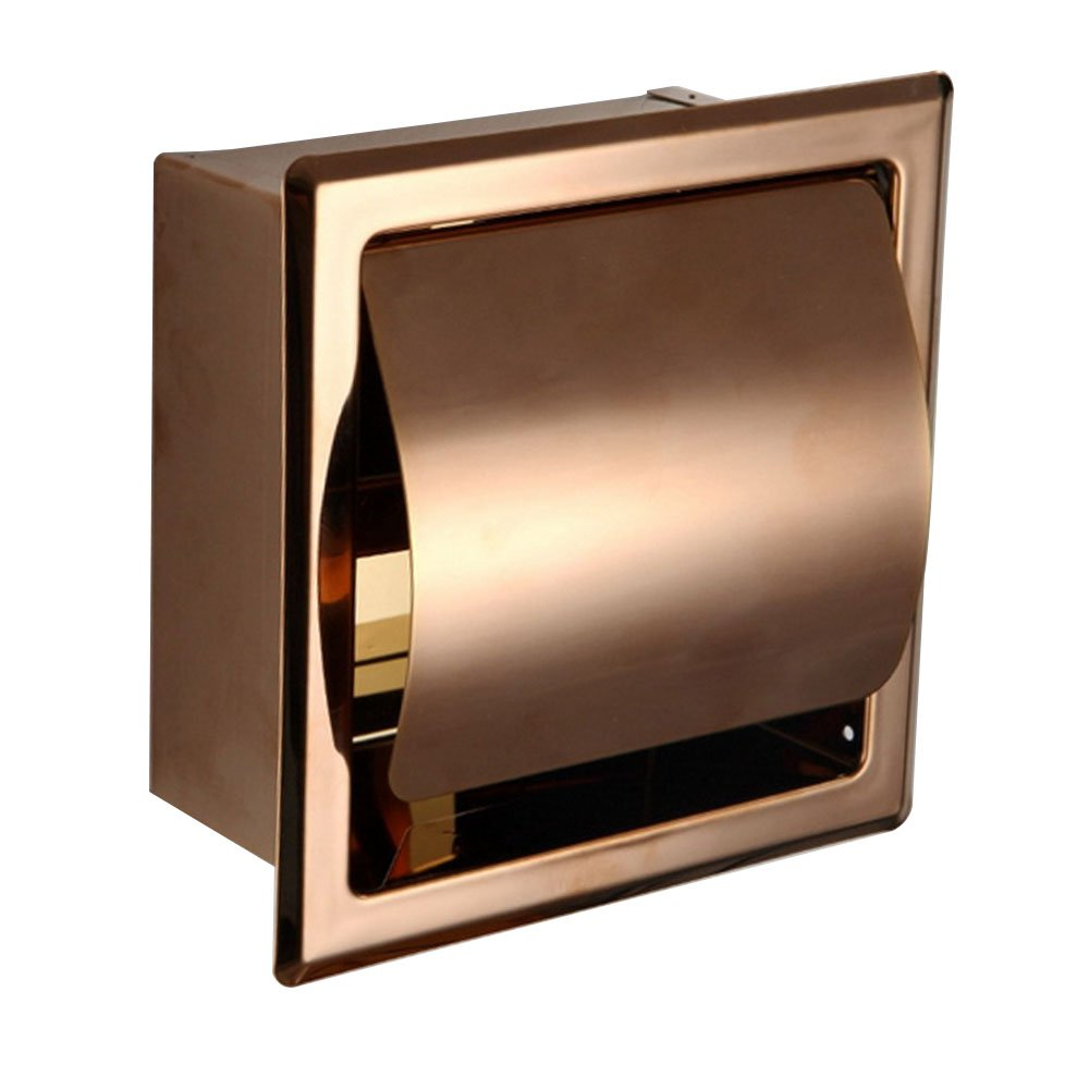 LUANT Recessed Paper Holder for Bathroom Storage, Stainless Steel, Rose Gold