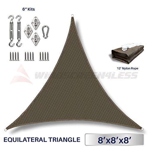 Windscreen4less 8 x 8 x 8 Equilateral Triangle Sun Shade Sail with 6 inch Hardware Kit – Brown Durable UV Shelter Canopy for Patio Outdoor Backyard – Custom