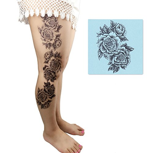 Temporary Tattoo 3 Sheets - DaLin 4 Sheets Sexy Temporary Tattoos for Women Flowers Collection (Chrysanthemum)