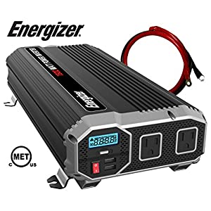 Energizer 1500 Watt 12V Power Inverter, Dual 110V AC Outlets, Automotive Back Up Power Supply Car Inverter, Converts 12V DC to 120 Volt AC with 2 USB ports 2.4A Each