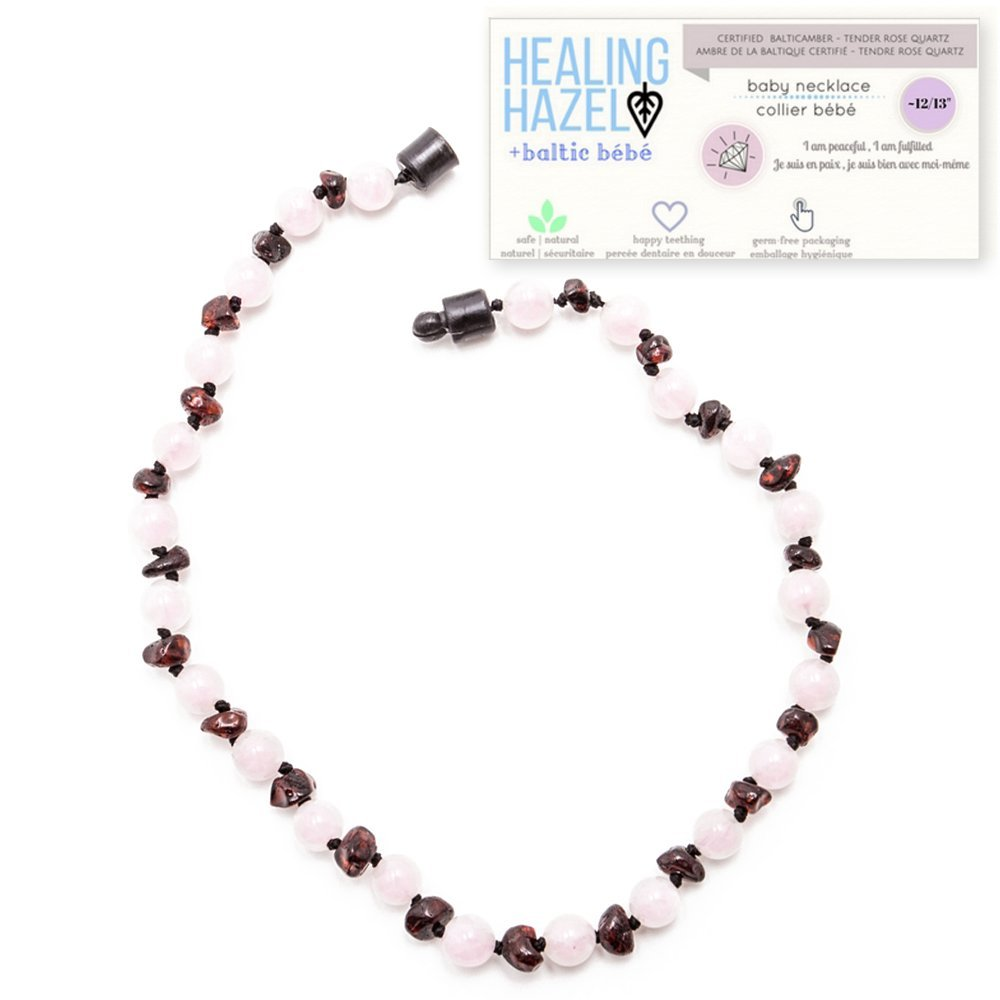 Healing Hazel + baltic bébé – 100% Certified Balticamber Pop Clasp Children Necklace with Gemstones, Tender Rose Quartz~12-13 inches (reduce drooling & teething pain)