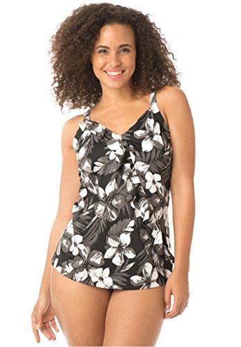 Swim 365 Women's Plus Size Ruffled Tankini Top In Tropical Print Black Jamaican
