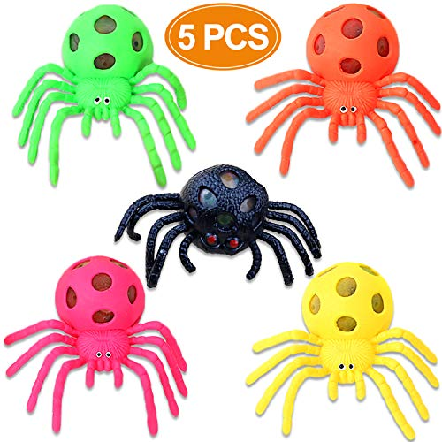 BeaFancy 5 Pack Mesh Stress Toys Ball Spider Mesh Squeeze Stress Relief Balls Fidget Toy for Boy Girl Kids Adult Autism Halloween Risk-Free Sensory Rubber by BeaFancy