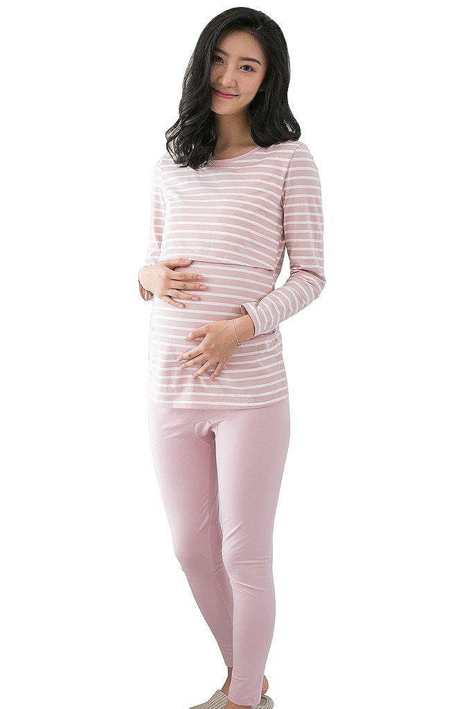 Bearsland Women's Maternity Nursing Pajamas Gowns Breastfeeding Sleepwear Set