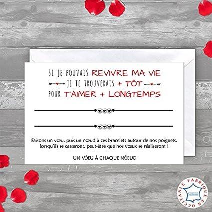 Carte De Voeux Message Damour Duo De Bracelets Porte Bonheur 3 Billes Inox Enveloppe Fabriqué En France Idée Cadeau Déclaration Damour St