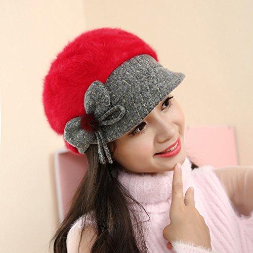 Vovotrade Las mujeres tejen la gorra de esquí Rojo