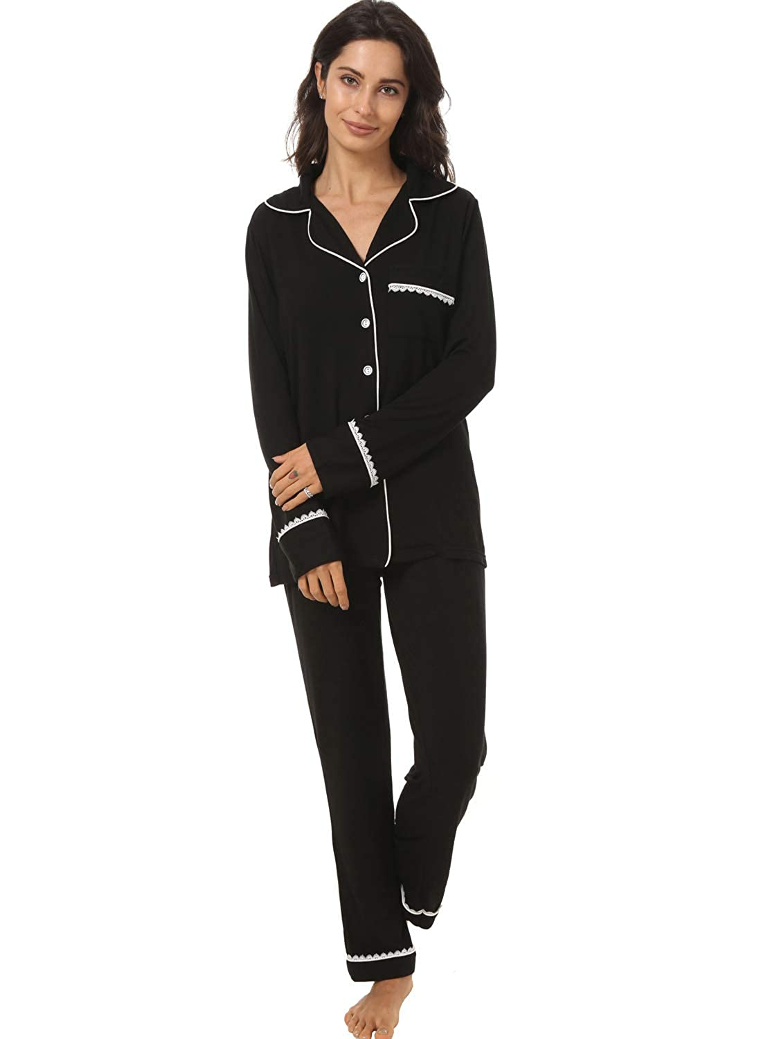 23e68ae06 Top5  Espoir Womens 2 Piece Classic Cotton Long Sleeve Button-Down Soft  Pajama Set