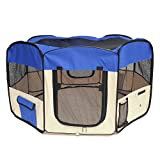 PAWABOO Dog Playpen, 49.2″ Zipper Sealed Bottom Portable Foldable Soft Pet Playpen Tent Kennel Puppy Cat Dog Exercise Crate with Carry Bag, Extra Large Size, Blue & Khaki For Sale