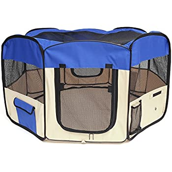 "Pawaboo Dog Playpen, 49.2"" Zipper Sealed Bottom Portable Foldable Soft Pet Playpen Tent Kennel Puppy Cat Dog Exercise Crate with Carry Bag, Extra Large Size, Blue & Khaki"