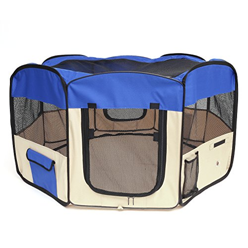 Pawaboo Dog Playpen, 49.2' Zipper Sealed Bottom Portable Foldable Soft Pet Playpen Tent Kennel Puppy Cat Dog Exercise Crate with Carry Bag, Extra Large Size, Blue & Khaki