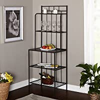 Bakers Rack, 5 Shelf Metal Kitchen Storage Stand, Black
