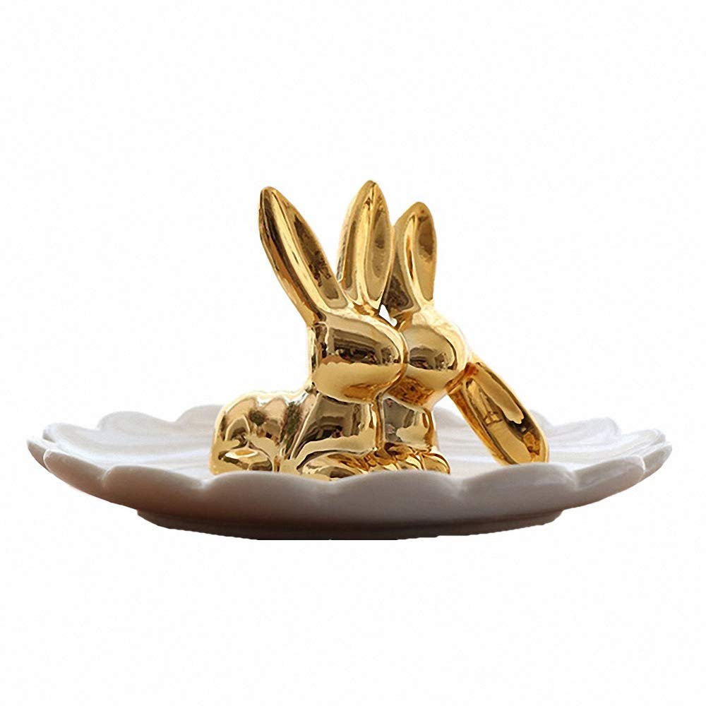 LYNK THINGS Ceramic Electroplated Rabbit Jewelry Tray Ring Earrings Holder Necklace Crafts Organizer Storage Desk Ornaments Trinkets Tray Dish Plate Stand Display Gift for Girlfriend Home Decor