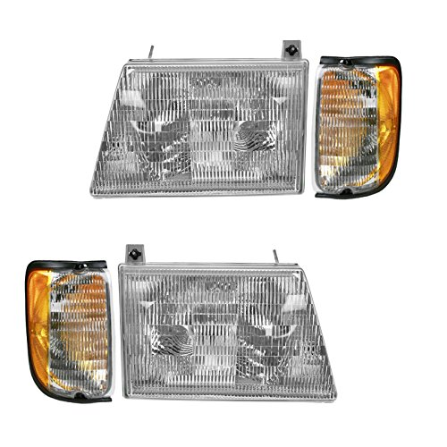 (Headlight Headlamp Corner Light Lamp Kit Set of 4 for 97-00 Ford Econoline Van)