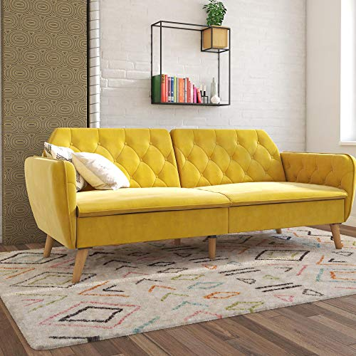 Novogratz Tallulah Memory Foam Couch, Mustard Yellow Velvet Futon, (Couch Sectional Yellow)