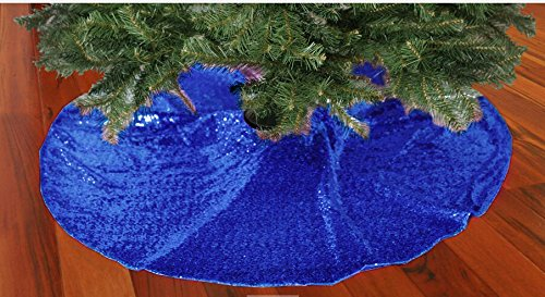 Royal Blue Tree Skirt - Tree Skirt-Sequin Tree Skirt,48