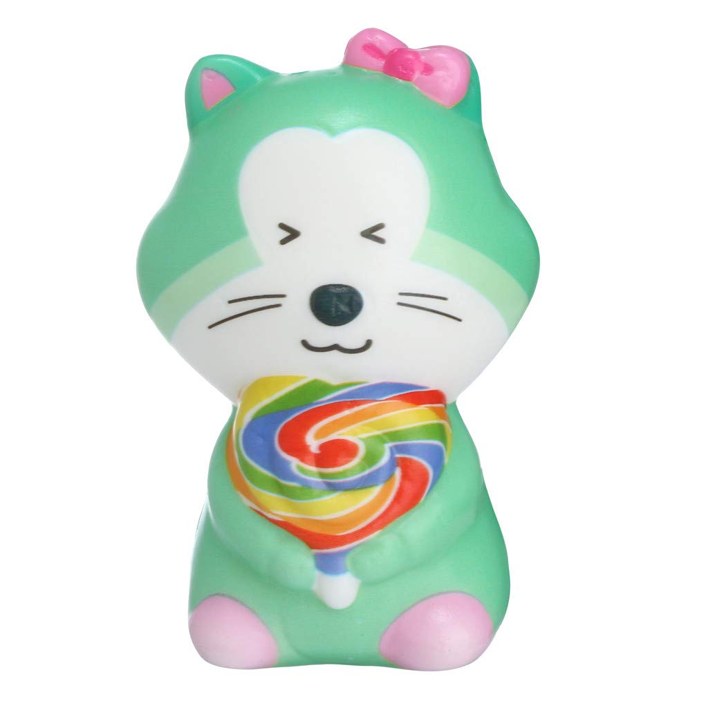 Binory Squishy Toy,Kawaii Mini Eating Lollipop Cat,Slow Rising Hand Attractive Toy,Stress Relief Fun Toy,Sweet Scented Vent Charms Super Soft Cute Decompression Toy for Children's Day Gift(Green)