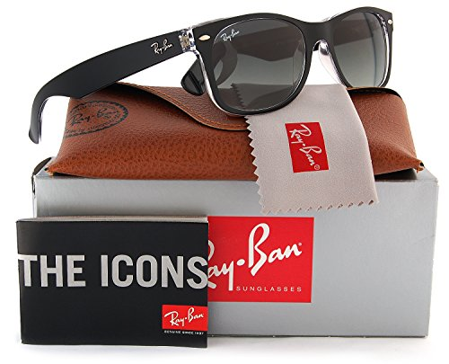 Ray-Ban RB2132 Large New Wayfarer Sunglasses Top Black on Transparent w/Crystal Green (6052) 2132 6052 55mm - New Ban Ray Wayfarer Large