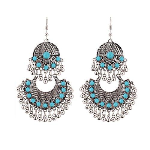 (SMALLE ◕‿◕ Antique Silver Gypsy Indian Tribal Ethnic Hoop Dangle Mandala Earrings Boho (Regular, Multicolor-A))