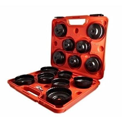 Llaves de campana para filtro de aceite coche, autocaravanas y caravanas – Estuche de 15