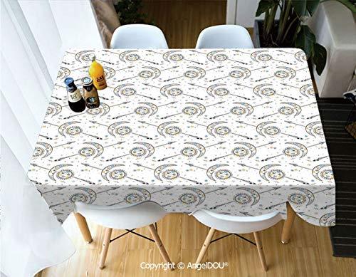 (AngelDOU Modern Tablecloth Rectangle Table Cover Horoscopes with Sun Crescent Moon Faces Boho Celestial Arrows Artprint for Camping Picnic Dinner Party Decor,W60xL104(inch) )