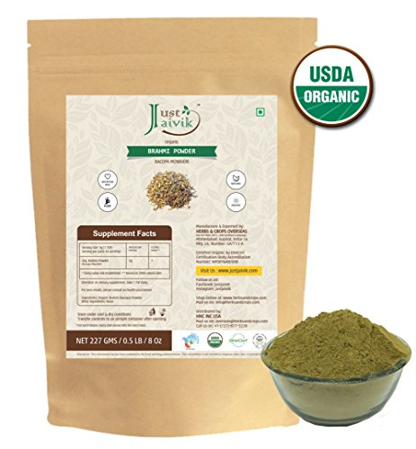 Just Jaivik 100% Organic Brahmi Powder Bacopa Monnieri- USDA Certified Organic, 227 gms/1/2 LB Pound/08 (Gotu Kola Herb Powder)