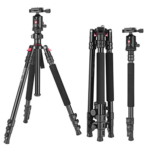 Camera Tripod, ZOMEI Aluminum Tripod with Ball Head Quick Release Plate DSLR Tripod for Camera Canon Nikon Sony DSLR DV Black Compact Tripod