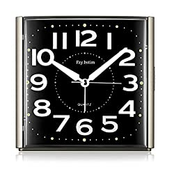 Non Ticking Analog Alarm Clock for Bedrooms,with Night-Light,Snooze,Ascending Sound Alarm,Ok to Wake,Easy to Set Desk Clocks,Battery Powered,Black