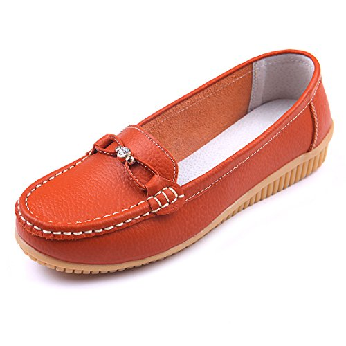 Women Leather Shoes Color Flats Slip On Loafers Orange - 8
