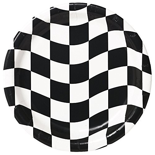 Creative Converting Mens Black and White Check Dessert Plates Black Medium -