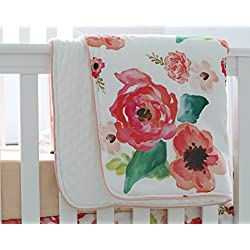 Sahaler Boho Floral Baby Minky Blanket Baby Crib Comforter Toddle Quilt 34x42inch (Coral)