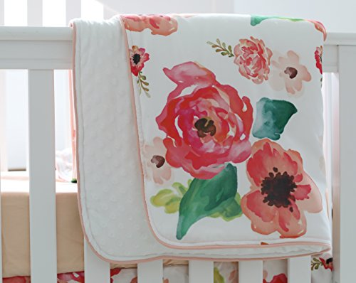 (Sahaler Boho Floral Baby Minky Blanket Baby Crib Comforter Toddle Quilt 34x42inch (Coral))