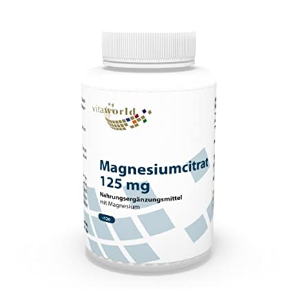 Citrato de magnesio 125mg 120 Cápsulas Vita World Farmacia Alemania