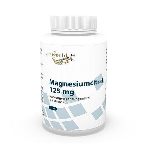 Citrato de magnesio 125mg 120 Cápsulas Vita World Farmacia Alemania: Amazon.es: Salud y cuidado personal
