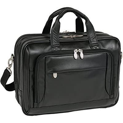 "17"" West Loop Black Leather Expandable Double Compartment Briefcase"