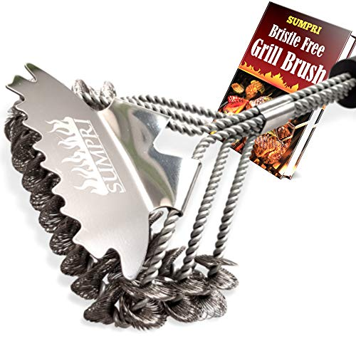 SUMPRI Grill Brush Bristle Free & Scraper -Best Safe BBQ Cleaning Brush, with Extra Wide 3D Scraper -Makes Grill Cleaning Easy -18 Inch Stainless Steel, Barbecue Cleaner for All Grill Types