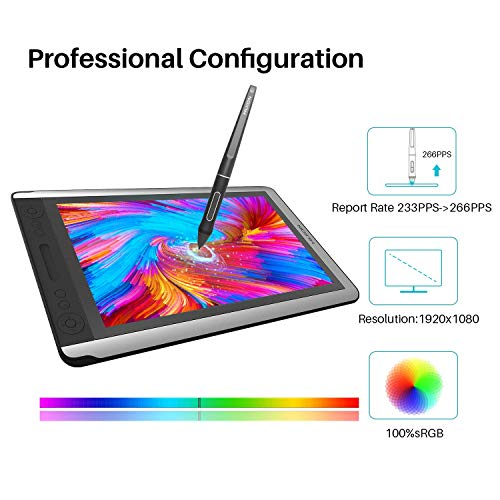 2019 Huion KAMVAS 16 Drawing Pen Display Monitor Graphic Monitor Tilt Function Battery-Free Stylus 8192 Pen Pressure - 15.6 Inches