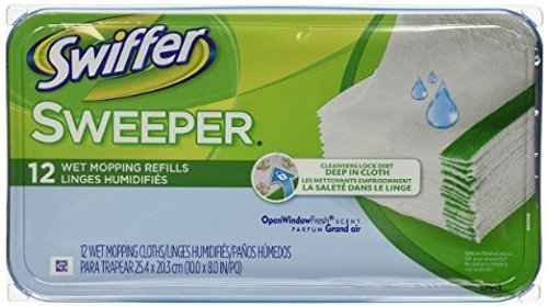 Swiffer Sweeper Wet Mopping Cloths Mop And Broom Floor Cleaner Refills Open Window Fresh Scent 12 Count (Pack of 9)