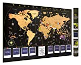 Scratch Off World Map Travel-Poster, Personalize it with up to 8 Photos of Your Travels, Scratch Reveal Country Flags - XL 35 x 24 inches