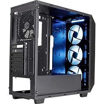 Aerocool P7C0PRO - Caja gaming para PC (semitorre, ATX, panel cristal templado, iluminación LED RGB, incluye 3 ventiladores RGB P7F12 y trasero 12 cm, ...